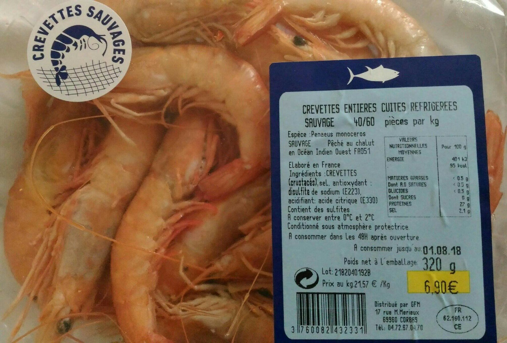 Crevettes sauvages entières cuites réfrigérées - Product - fr