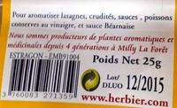 Estragon - Informations nutritionnelles - fr