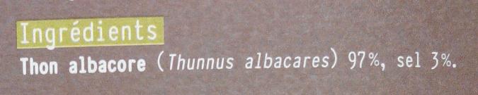 Les poissons sauvages Thon albacore fumé - Ingrédients - fr