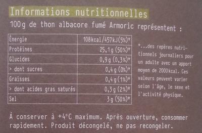 Les poissons sauvages Thon albacore fumé - Informations nutritionnelles - fr