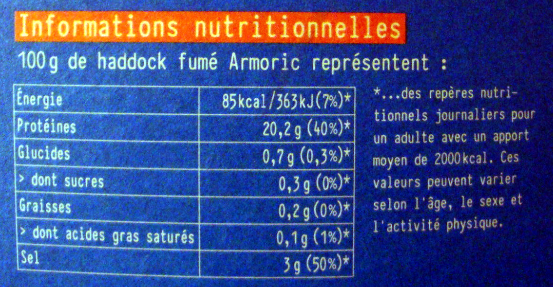 Haddock (églefin fumé) - Nutrition facts - fr