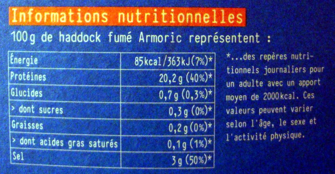 Haddock (églefin fumé) - Informations nutritionnelles