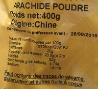 Arachide poudre - Ingrédients