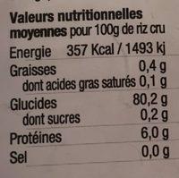 Riz de camargue long blanc - Informations nutritionnelles - fr