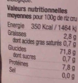 Riz noir bio - Informations nutritionnelles - fr