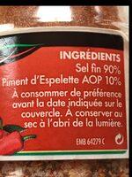 Sel fin au piment d'Espelette - Ingrédients