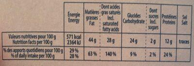 Le 100% CRIOLLO biologique - Informations nutritionnelles