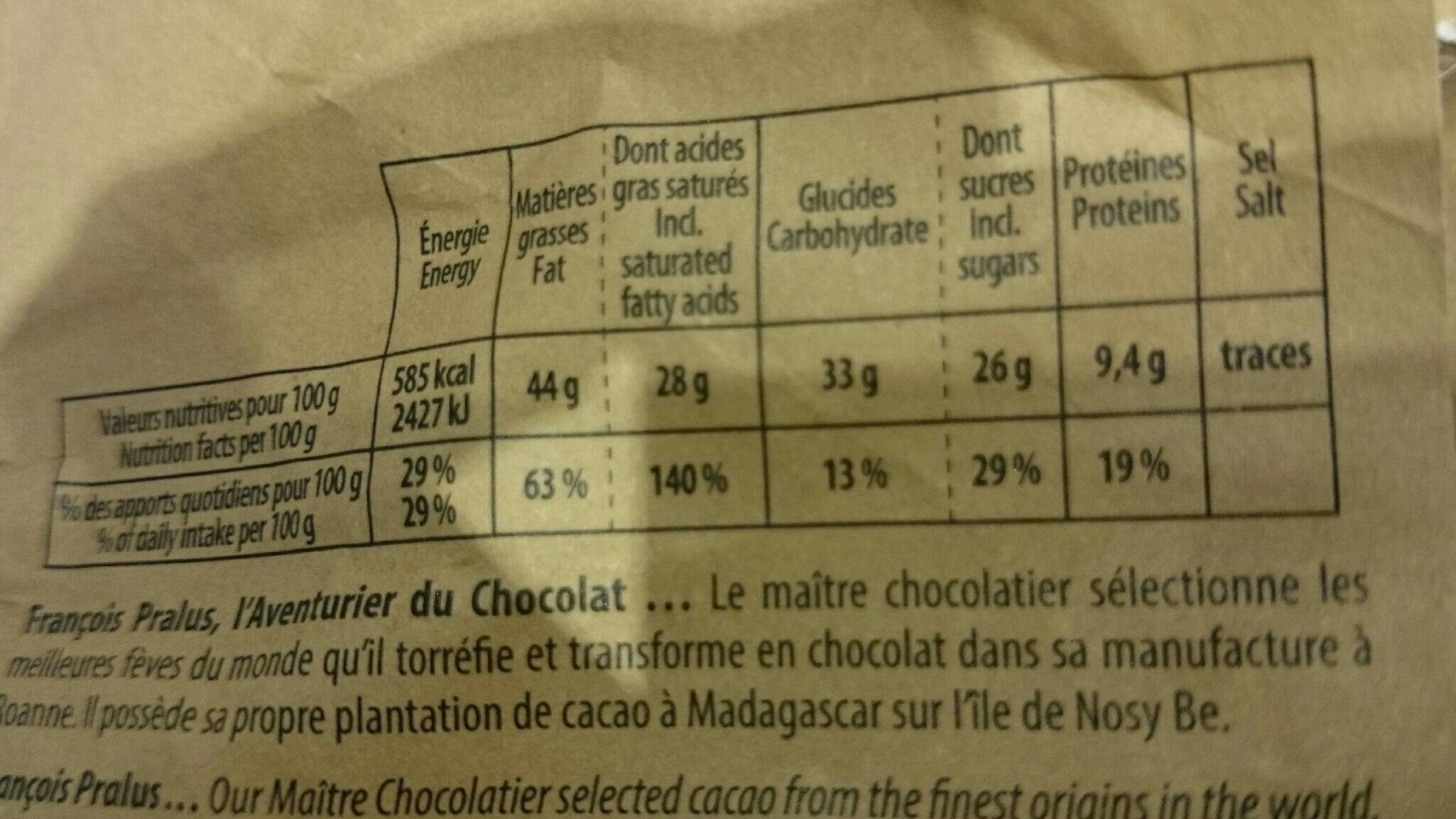 Papouasie Chocolate Bar - Informations nutritionnelles