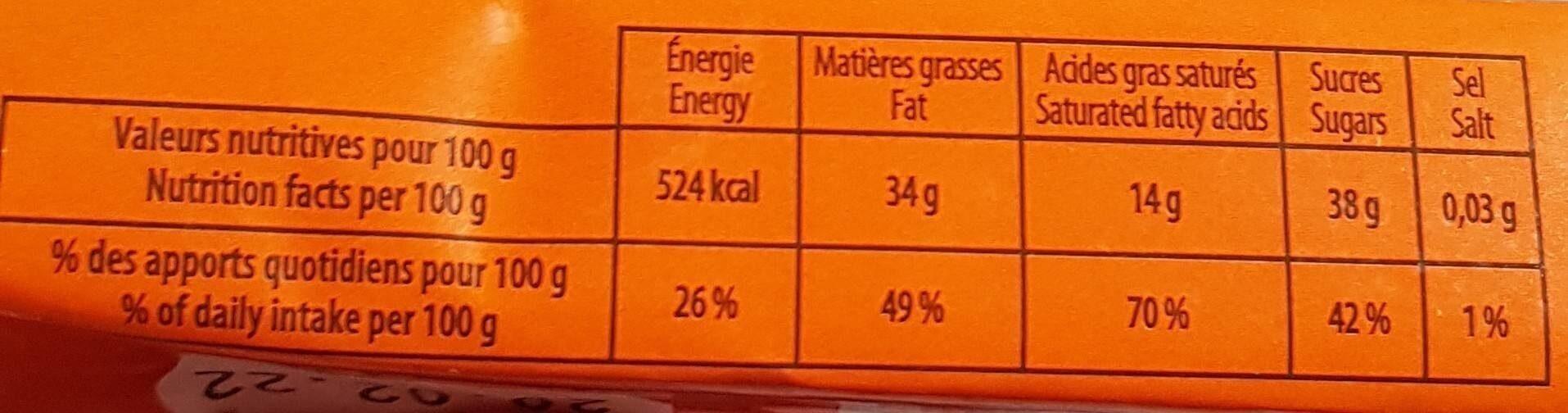 Barre infernale orange - Informations nutritionnelles - fr