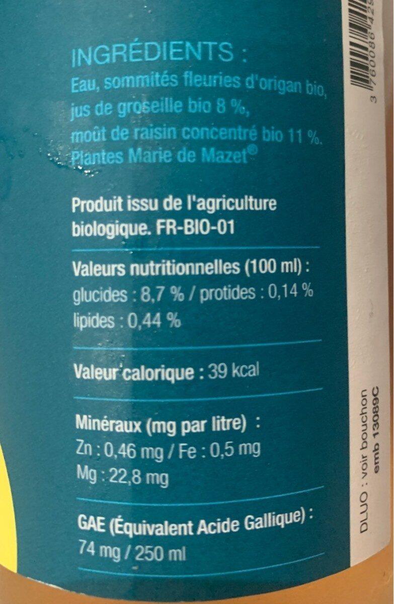 Tis'up tonic origan groseille - Valori nutrizionali - fr