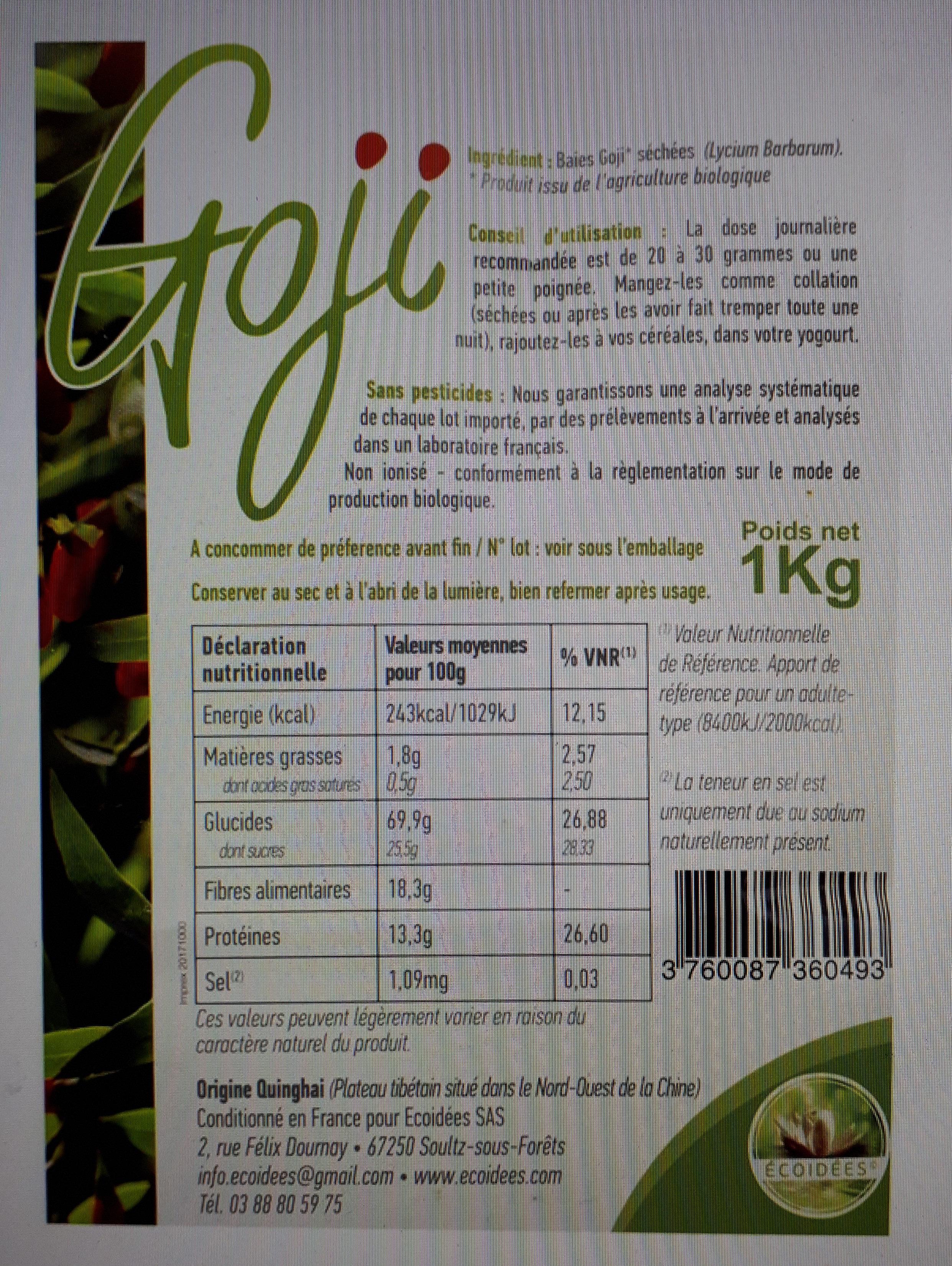 Baies De Goji séchées - Certifiées biologiques - Product