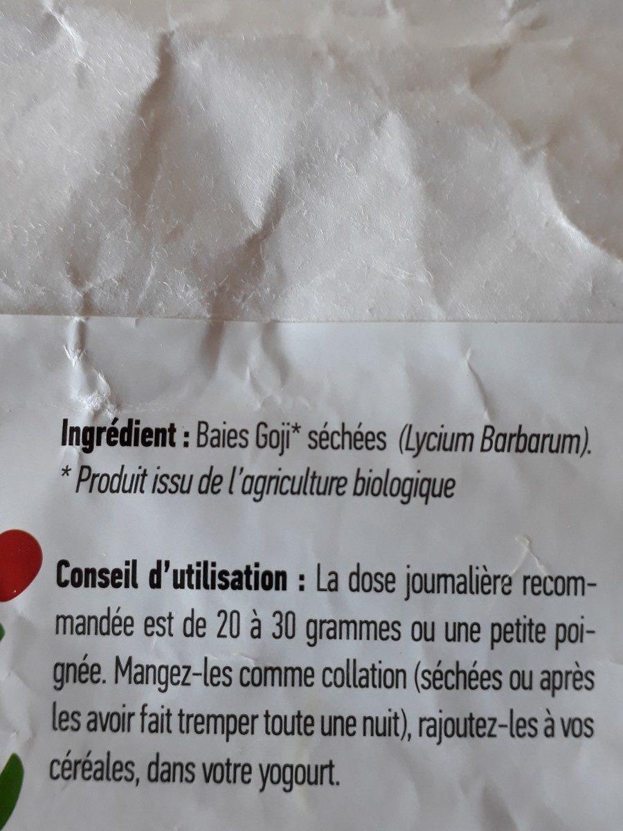 Baies De Goji séchées - Certifiées biologiques - Ingredients