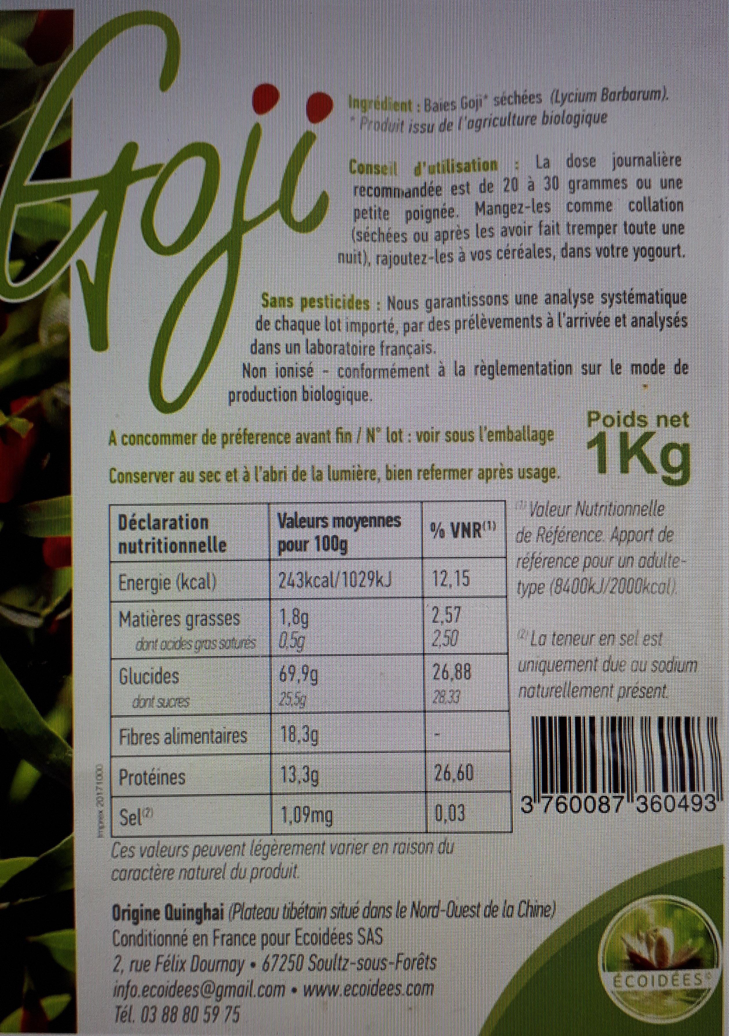 Baies De Goji séchées - Certifiées biologiques - Nutrition facts