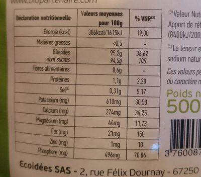 Sucre de coco - Voedingswaarden - fr
