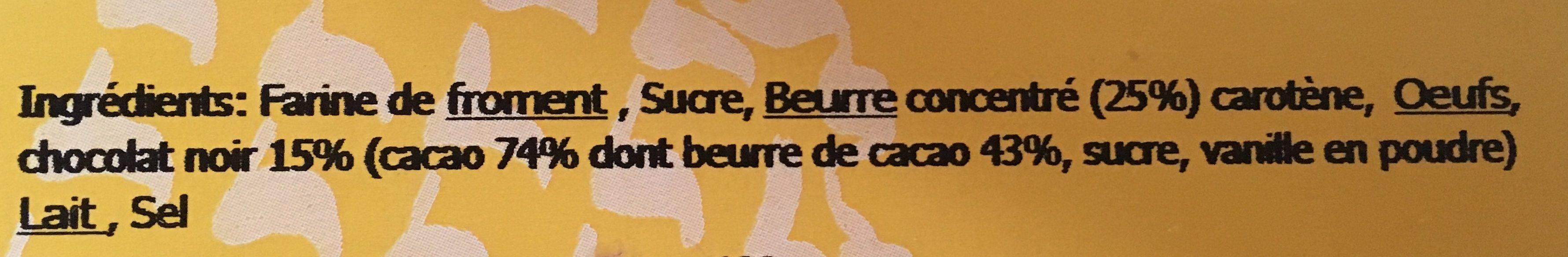 8 Gaufres Pur Beurre Chocolat Noir - Ingrédients - fr