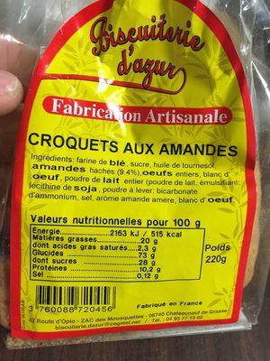 Croquets aux amandes - Produit