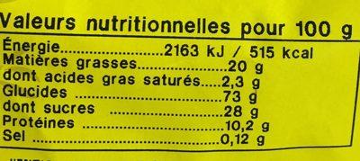 Croquets aux amandes - Nutrition facts