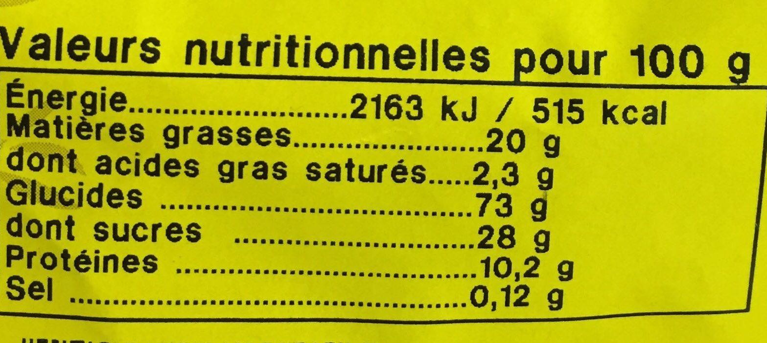 Croquets aux amandes - Voedingswaarden - fr