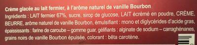 Creme glacee a la vanille TERRES BLEUES - Ingrédients