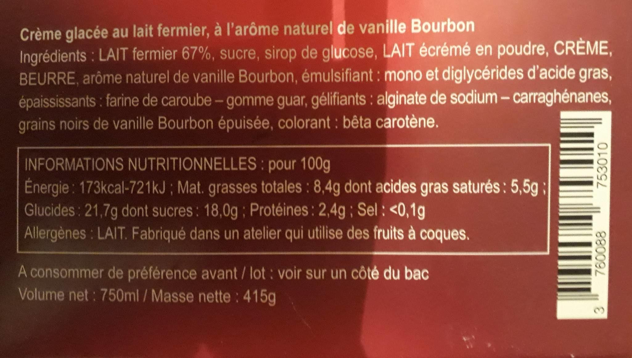 Creme glacee a la vanille TERRES BLEUES - Informations nutritionnelles