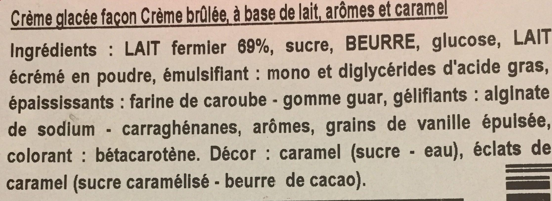 Glace creme brullee - Ingrédients