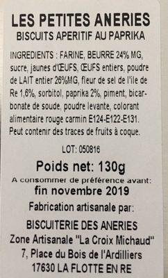 Biscuits aperitifs au paprika - Ingredients - fr