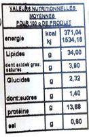 Salade Palais des mets Fruits de mer sans surimi - Informations nutritionnelles - fr