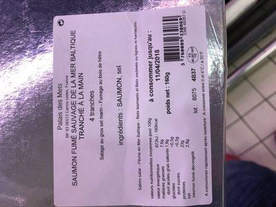Saumon fume sauvage de la Baltique PALAIS DES METS, 4 tranches - Ingredients - fr