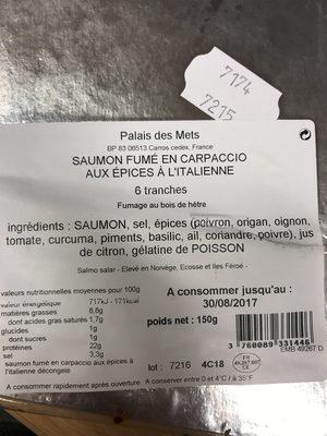 Saumon fume en carpacio - Ingredients - fr
