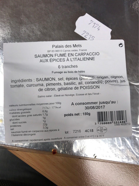Saumon fume en carpacio - Nutrition facts - fr