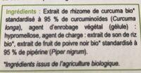 Curcuma 95 Bio - 60 Gélules - Natésis - Ingrédients