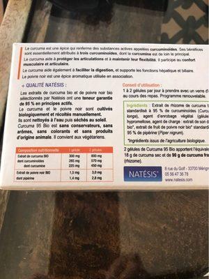 Curcuma 95 Bio - 60 Gélules - Natésis - Informations nutritionnelles