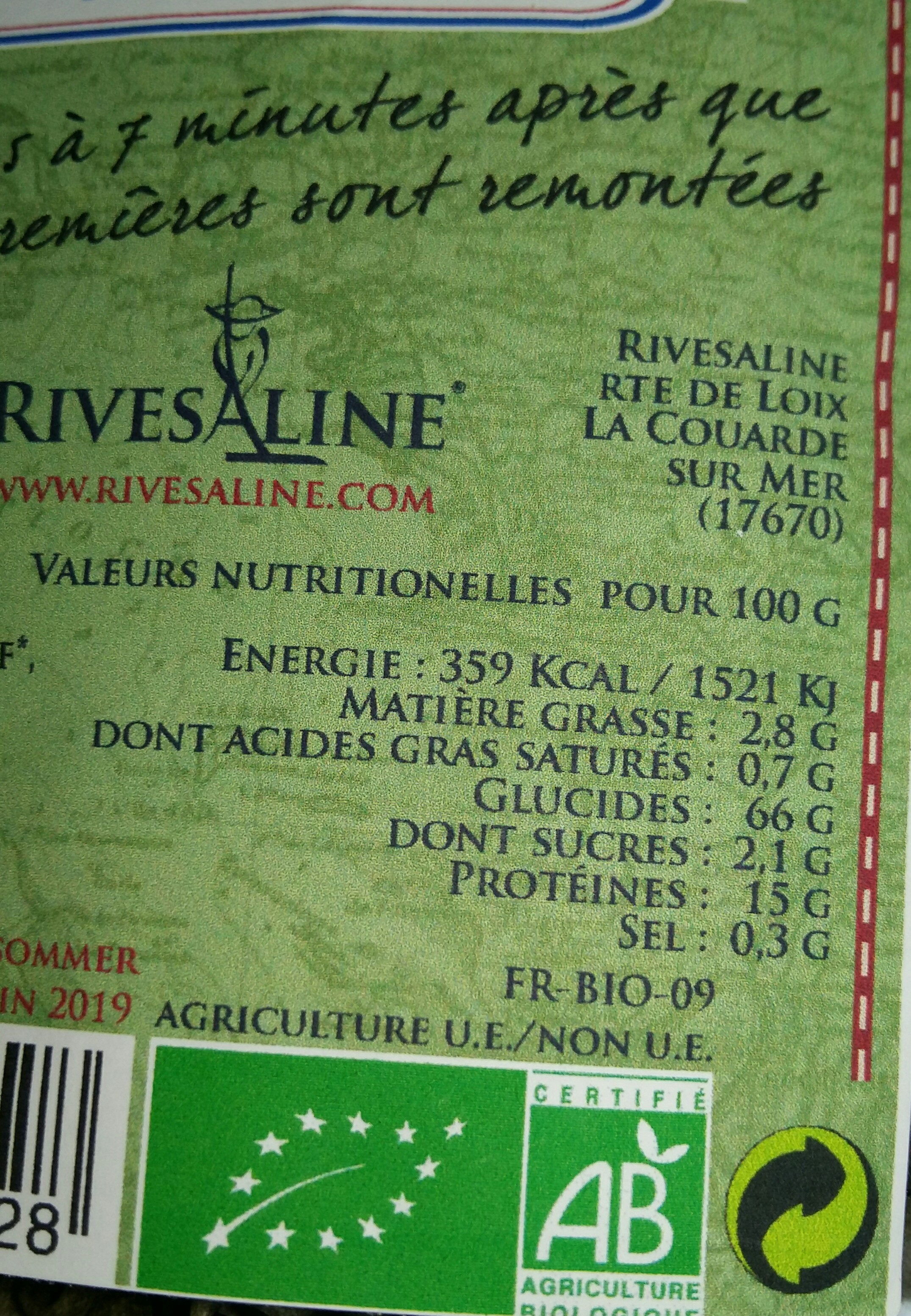 Pates bio - Informations nutritionnelles - fr