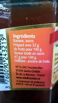 Confiture de banane - Ingredients