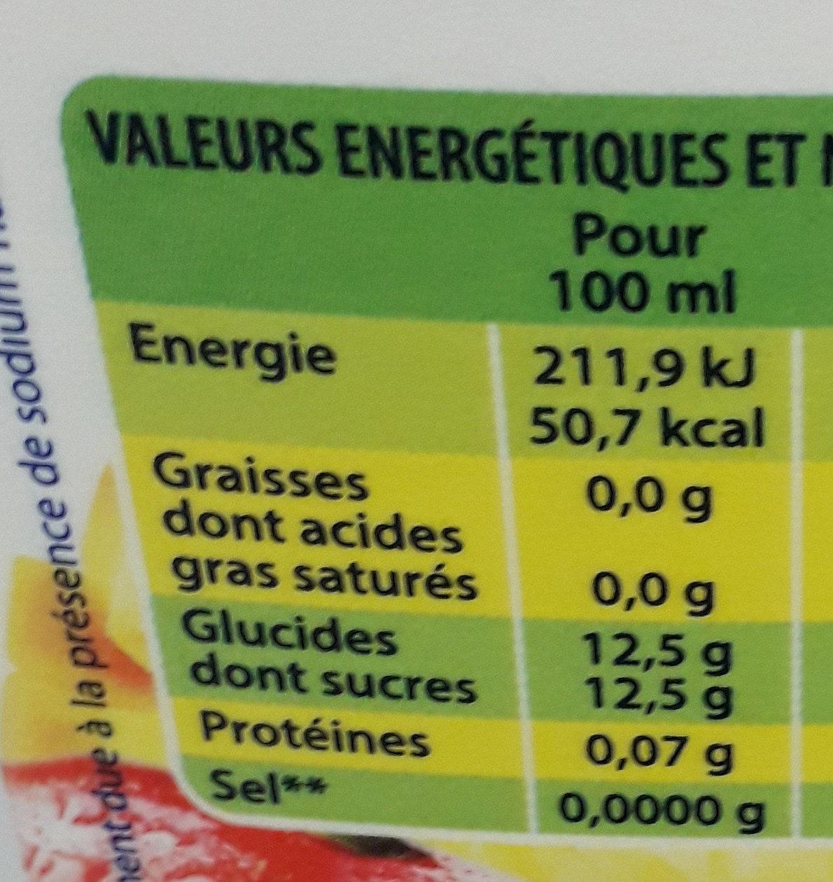 Nectar Multifruits 8 fruits tropicaux - Valori nutrizionali - fr