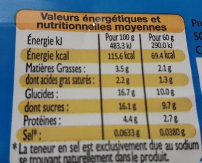 Mo gouter - Valori nutrizionali - fr