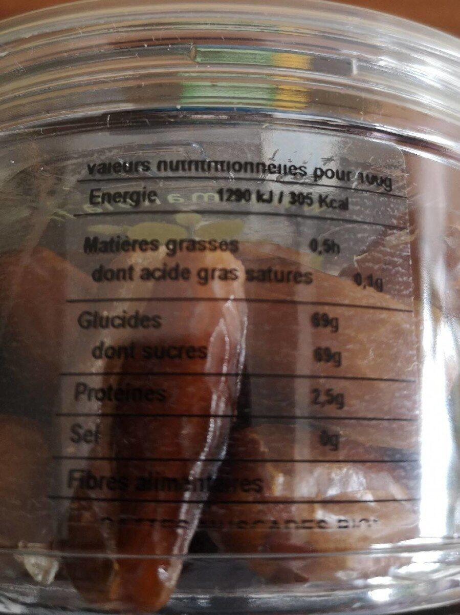 Dattes muscades bio - Voedingswaarden - fr