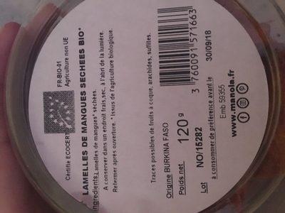 Lamelles de mangues sechees bio - Ingrediënten - fr