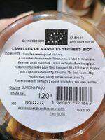 Lamelles de mangues sechees bio - Voedingswaarden - fr