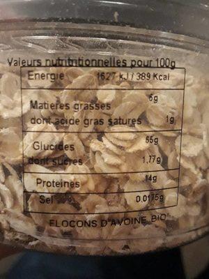 Flocons d'avoine bio - Informations nutritionnelles - fr