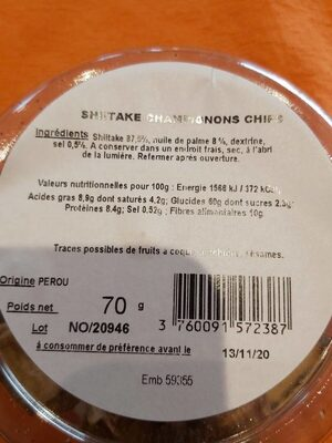 shitake champignons chips - Voedingswaarden - fr
