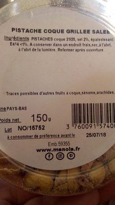 Pistache coque grillee salee - Ingrediënten - fr
