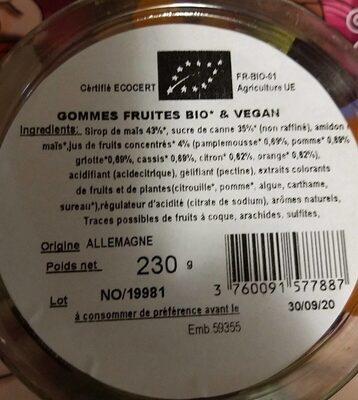 Bonbons coeurs bio et vegan - Voedingswaarden - fr
