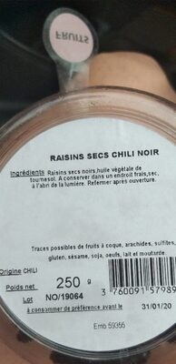 Fruits raisins secs chili noir - Product