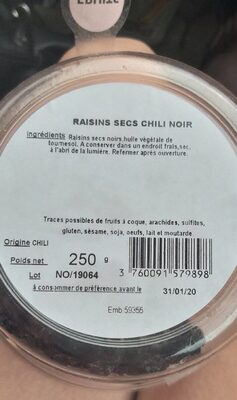 Fruits raisins secs chili noir - Voedingswaarden - fr