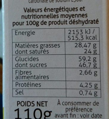 Mousse chocolat blanc coco - Nutrition facts