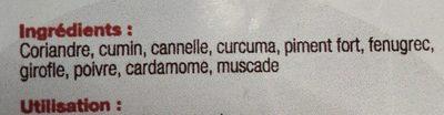 Massalé - Ingrédients - fr