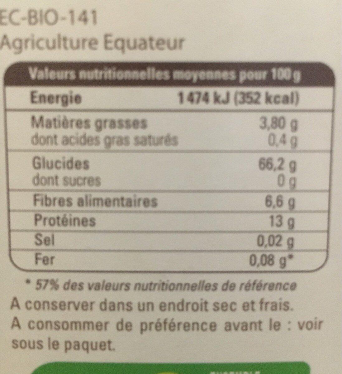 Quinoa de l'equateur - Informations nutritionnelles - fr