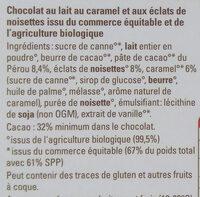 Chocolat lait nougatine noisette - Ingrédients