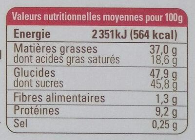 Chocolat lait nougatine noisette - Informations nutritionnelles
